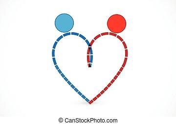 famille, coeur, logo, couple, icône