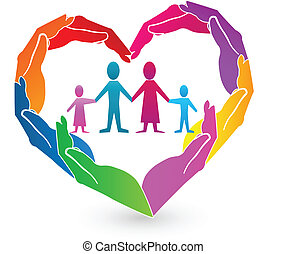 famille, coeur, mains, logo