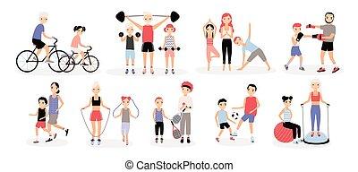 famille, collection., boxe, pères, bosu, training., enfants, cyclisme, set., football, sports, jogging, coloré, yoga, sauter, illustration., mères, haltérophilie, tennis, vecteur, corde, activité