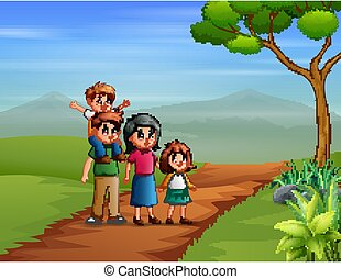 famille, colline, heureux, marche