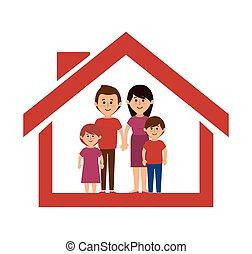 famille, coloré, dessin animé