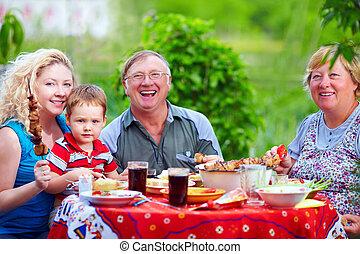 famille, coloré, pique-nique, ensemble, dehors, heureux