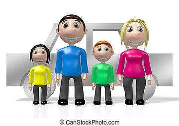 famille, concept, 3d, voiture, heureux