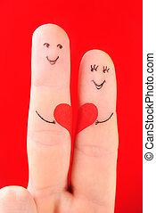 famille, concept, -, a, homme, et, a, femme, tenez, les, coeur rouge, peint, à, doigts, et, isolé, sur, arrière-plan rouge