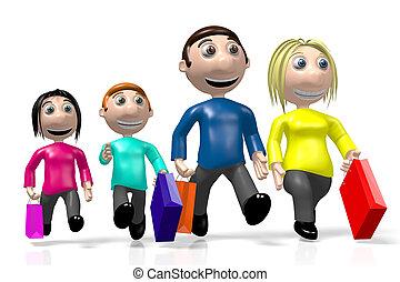 famille, concept, achats, 3d, heureux