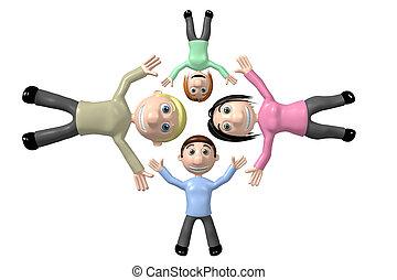 famille, concept, collaboration, 3d, heureux