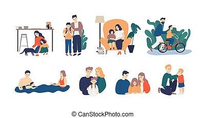 famille, confiance, scenes., soutien, père, leur, parents, entre, enseignement, kid., heureux, plat, bon, paquet, parenting, nurturing., children., illustration., instruire, vecteur, mère, soin, aimer