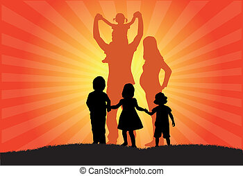 famille, coucher soleil, silhouette
