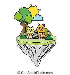 famille, couleur, île, flotteur, chat, animal
