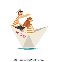 famille, couple, blanc, lac, illustration, rivière, canotage, vecteur, papier, t-shirts, orange, rayé, étang, ou, bateau