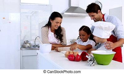 famille, cuisson, ensemble