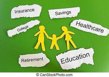 famille, déchiré, dépenses, papier, lambeaux, coupure