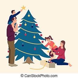 famille, décorer, heureux, arbre, noël