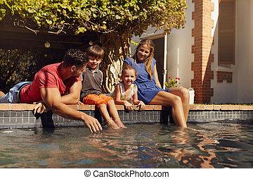 famille, délassant, piscine