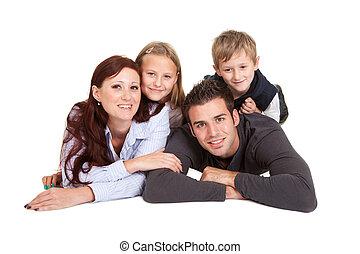 famille, dépenser, jeune, ensemble, temps, heureux