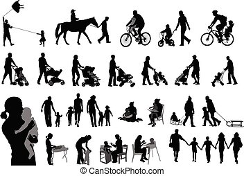 famille, dépenser, leur, silhouettes, parents, temps, enfants