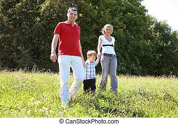 famille, dans, a, pré