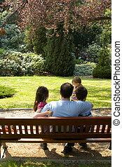 famille, dans, jardin