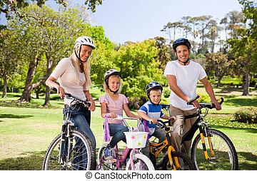 famille, dans parc, à, leur, vélos