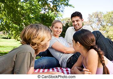 famille, dans parc