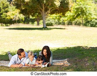 famille, dans parc, ensemble
