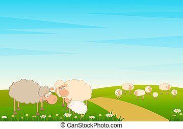 famille, de, dessin animé, mouton