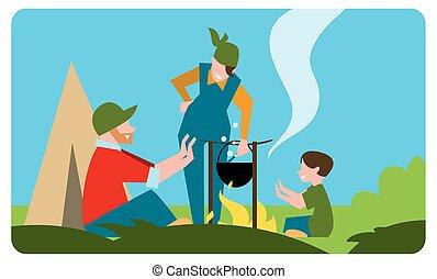 famille, de, touriste, préparation repas, dehors