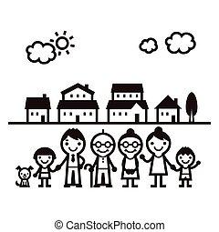 famille, debout, dans, fromt, de, maisons