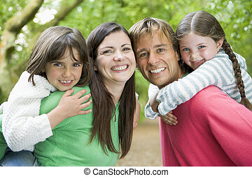 famille, dehors, sourire