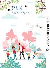famille, dessiné, vecteur, illustrations, printemps, nature, heureux, spring., day., affiche, mignon, temps
