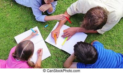 famille, dessin, ensemble