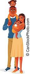 famille, deux, illustration, isolé, arrière-plan., vecteur, noir, kids., ethnique, blanc, sourire, dessin animé