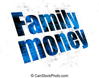 famille, devise argent, fond, numérique, concept: