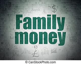 famille, devise argent, papier, fond, numérique, données, concept: