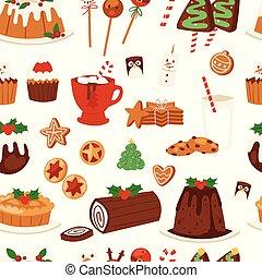 famille, doux, décoration, desserts, hiver, modèle, seamless, célébration, fait maison, vacances, noël, fête, fond nourriture, illustration., x-mas, dîneur, noël, traditionnel, vecteur, gâteau, repas