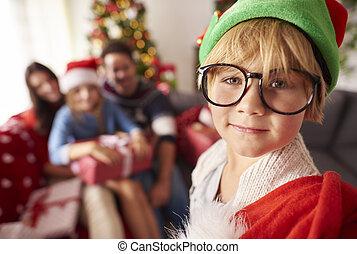 famille, elfe, sac, petit, présent noël