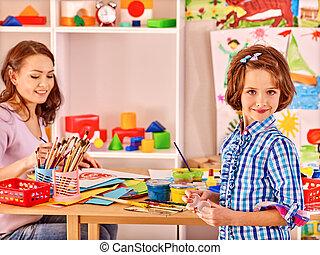 famille, enfant, peinture, .