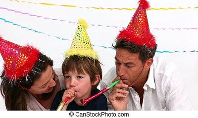 famille, ensemble, anniversaire, pendant, fête, jouer