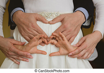 famille, ensemble, idea., tenant mains, conceptuel, closeup.