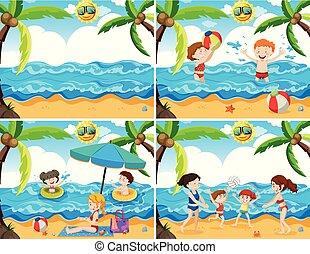 famille, ensemble, plage