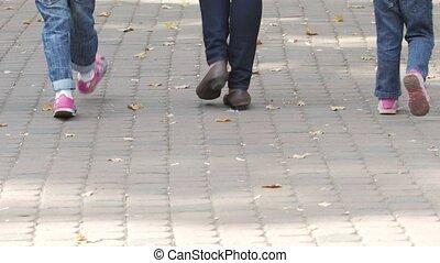 famille, ensemble, promenade, parents, enfant, summer., heureux