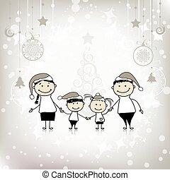 famille, ensemble, sourire, vacances, noël, heureux