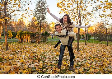 famille, ensoleillé, parc, deux, avoir, automne, automne, amusement, jour, heureux