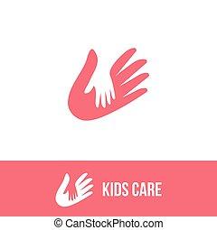 famille, espace, signe., mains, négatif, isolé, vecteur, enfant adulte, icon., logo.