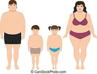 famille, excès poids, graisse, vecteur, dessin animé,...