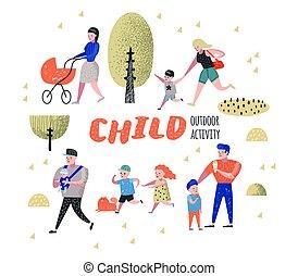 famille, extérieur, activity., parents, marche parc, à, children., heureux, gens, délassant, sur, nature., vecteur, illustration
