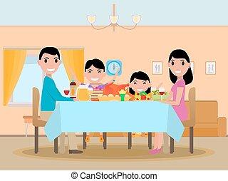 famille, fête, dîner, vecteur, table, dessin animé, heureux