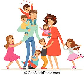 famille, fatigué, beaucoup, illustration, grand, leur, vecteur, parents, bébés, children., gosses