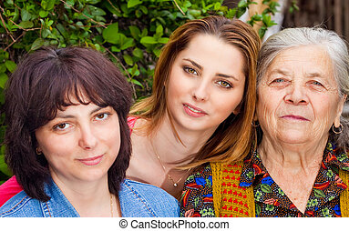 famille, -, fille, petite-fille, et, grand-mère