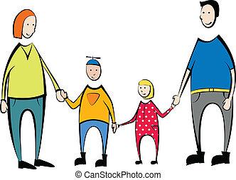famille, fils, dau, mère, portrait